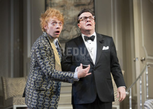 "Rupert Grint, left, and Nathan Lane in ""It's Only a Play"" at the Schoenfeld Theater in New York."